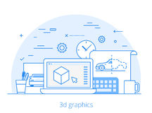 Lineart Flat 3D graphics service website vector  Royalty Free Stock Images
