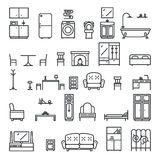 Lineart Flat Furniture Icons and Symbols Set Living Room Isolated Vector Illustration Stock Photos