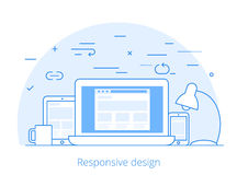 Lineart Flat software responsive web design vector Stock Image