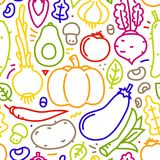 Lineart Flat Style Vegetables seamless vector pattern on white background Stock Photos
