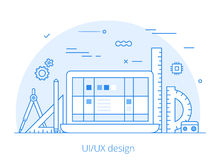 Lineart Flat UI/UX interface design web site  Royalty Free Stock Image