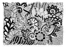 Lineart floreale astratto per fondo e la pagina del libro da colorare dell'adulto Illustrazione di vettore Fotografia Stock