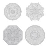 Lineart geometric ornamental templates set. Vector symbols. Royalty Free Stock Images