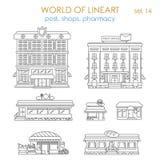 Lineart graficznej architektury jawny biznes: poczta robi zakupy kawiarni Zdjęcia Royalty Free
