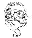 Lineart Hipster Santa Claus Vector, EPS 10 Royalty-vrije Stock Foto's