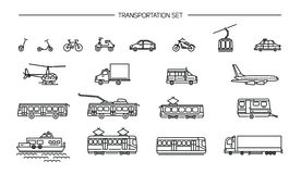 Lineart icon set with ground transport, aviation and water transportation on white background. Collection with bike, bus Royalty Free Stock Image