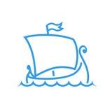 Lineart ikona skandynaw Drakkar ilustracji