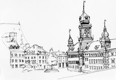 Lineart ink drawing of Warsaw main square landscape, old town vi. Ew illustration, Poland Stock Photography