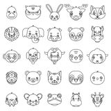 Lineart a isolé l'illustration de vecteur de caractère réglée par icônes plates mignonnes de tête de conception de petits animaux Photos libres de droits