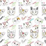 Lineart-Katze stellt Muster auf weißem Hintergrund gegenüber Lizenzfreie Stockbilder
