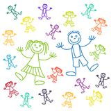 Lineart kids. Boys and girls vector drawing Royalty Free Stock Images