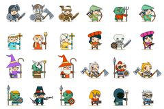 Lineart Male Female Fantasy RPG Game Character Vector Icons Set Vector Illustration Stock Images