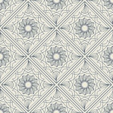 Lineart ornamental geometric floral pattern Stock Photo