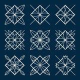Lineart ornamental geometric symbols Royalty Free Stock Image