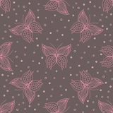 Lineart pattern with butterflies Stock Photography