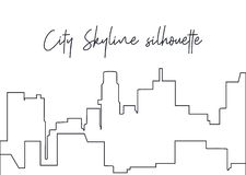 Lineart skyline silhouette. Outline silhouette stock illustration