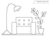 Lineart som är inre med stol, lampan och att stå på golvblomman royaltyfri illustrationer