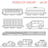 Lineart transport railroad road wagon cistern container jeep Stock Photo