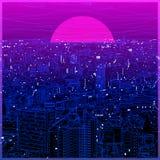 Lineart ultravioleta del paisaje urbano en diseño polivinílico bajo libre illustration