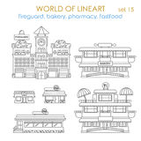 Lineart vector city building exterior: bakery, shop, restaurant Stock Photo
