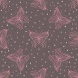 Lineartpatroon met vlinders Stock Fotografie