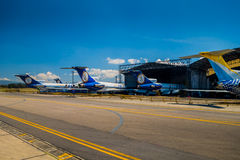 Lineas aereas suramericanas airplanes line up and Royalty Free Stock Photography