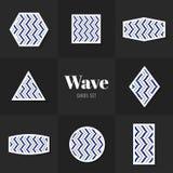 Linecards da onda da coleção Imagens de Stock