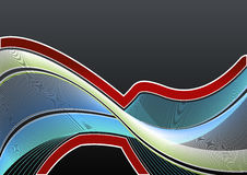 Lined art wavy background. Vector illustration of a highly detailed modern lined art background in blue and green flowing colors and red gradient border Royalty Free Stock Photo