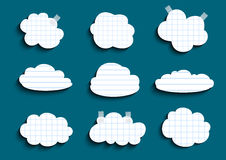 Lined and checked clouds collection. Illustration of checked and lined paper clouds with scotch on teal background vector illustration