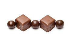 Lined chocolate balls and cubes top Stock Photography