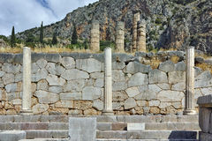 Lined Columns of Ancient Greek archaeological site of Delphi, Greece Stock Image