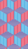 Lined 3d cubes seamless pattern, geometric vector background. Stock Photo
