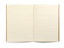 Lined exercise book. Blank lined exercise book on white, visible shadow in front Stock Photos
