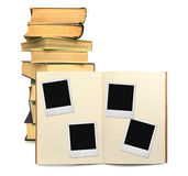 Lined exercise book and photo frames #2 Royalty Free Stock Photo