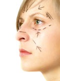 Lined face for cosmetic surgery Stock Photo