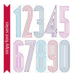 Lined geometric numeration, colorful light numbers Stock Image
