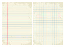 Lined & Graph vintage paper set Stock Photo