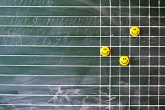 School board with magnetic smile. Lined green school board with magnetic smile Stock Photo
