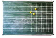 School board with magnetic smile. Lined green school board with magnetic smile isolated white Stock Photo