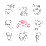 Lined hand love signs. Vector hands making heart shape. Symbol of love, heart in hands illustration Stock Images