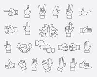 Lined hands gestures and hand pas vector signs Stock Image