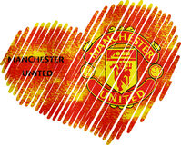 Lined Heart manchester united metallic Royalty Free Stock Image