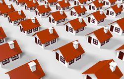 Lined houses. 3d lined houses over white Stock Photo