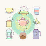 Lined icon set of tea culture objects Stock Image