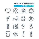 Lined icons set. Health and Medicine icons Royalty Free Stock Images
