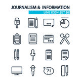 Lined icons set. Journalism and information icons Royalty Free Stock Photography