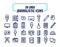 28 lined icons set. Journalistic icons.  Royalty Free Stock Photo