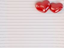 Lined Love letter icon with 3d hearts Stock Photography