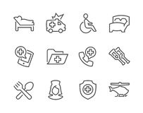 Lined Medical Transportation Icons Stock Photos