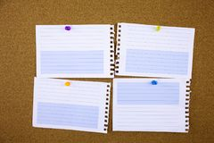 Lined note paper with sticky tape. Paper piece on white notice board, office and business stationary, blank copy space for text. Template stock images